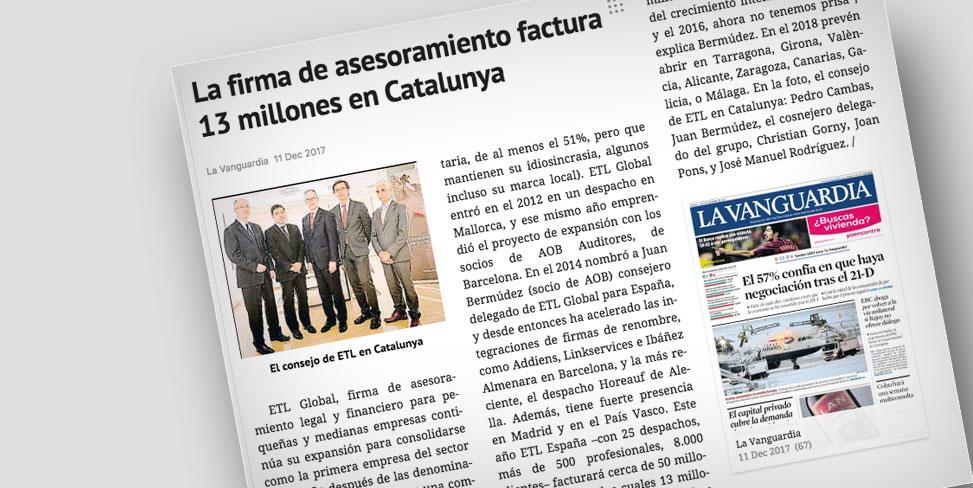 El grupo al que pertenece ACUERDO, ETL Global, publica en La Vanguardia su crecimiento en España